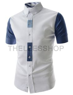 (AL645-WHITE) Slim Fit Button Down Two Tone Placket Point Short Sleeve Stretchy Shirts