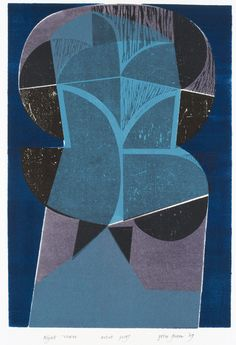 PETER GREEN, Night Tower,    Woodcut & stencil print – unmounted, unframed.    This is an example of Peter Green's woodcut and stencil prints produced in the 1960s and 1970s.