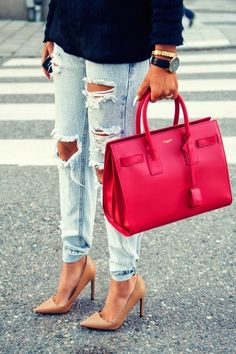 Saint Laurent Sac de Jour + One Teaspoon Distressed Denim