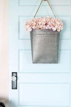 Behr Clear Pond Blue Door - Just a Girl and Her Blog - Best Paint Colors #vintagedoor #doordecor