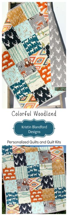 Woodland Handmade Quilt for Nursery, Buck Crib Bedding, Deer Blanket, Navy Blue Orange Teal Blue Gold Grey Gray, Baby Boy Toddler Blanket, Kids Quilt, Masculine Manly Hunting Buck Stag, Gift for Baby, Bear Owl Raccoon Fox, Forest Animals, Quilt Kits for Beginners, Simple Quick Easy Fast to Complete by Kristin Blandford Designs #handmadegifts #quiltstomake #quilting #howtoquilt #sewingprojects