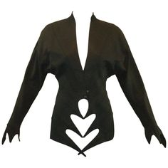 S/S 1989 Runway Thierry Mugler Vamp Black Jacket 36 | From a collection of rare vintage jackets at https://www.1stdibs.com/fashion/clothing/jackets/