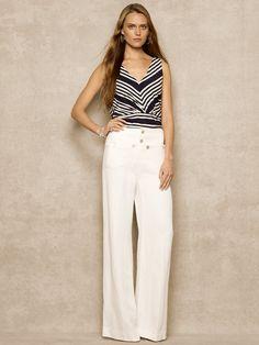 Silk-Blend V-Neck Top - Short-Sleeve  Knits & Tees - RalphLauren.com