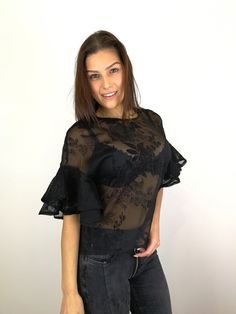 Blouse Luna Blouse, Tops, Women, Fashion, Sheer Fabrics, Black Clothes, Lace, Moda, Fashion Styles