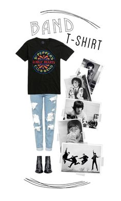 """Beatles T-Shirt"" by shaitris ❤ liked on Polyvore featuring Topshop, Valentino, Beatles, bandtshirt and bandtee"