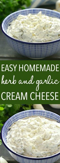 Easy Homemade Herb and Garlic Cream Cheese is perfect for spreading on toast, bagels or crackers, and it makes a great appetizer! Skip the grocery store and make it yourself with only 5 basic ingredients! Recipe from ! Home Made Cream Cheese, Make Cream Cheese, Cream Cheese Spreads, Cream Cheese Recipes, Cream Cheeses, Garlic Herb Cheese Spread Recipe, Cracker Dip Cream Cheese, Bagel With Cream Cheese, Breakfast