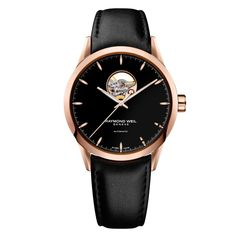 A bold #black dial and #leather strap creates a beautiful contrast with the rose gold bezel and indexes of this elegant round-face Freelancer #watch. Features a visible balance wheel, and is mechanical with automatic winding. - RAYMOND WEIL FREELANCER Collection Rose Gold and Black Leather Freelancer Watch | Tapper's Diamonds & Fine Jewelry | www.tappers.com