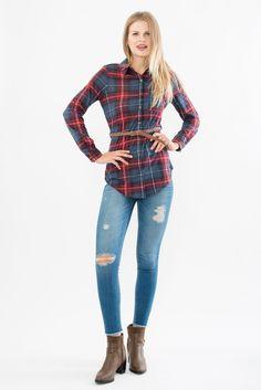 Plaid Tunic Blouse Plaid Tunic, Tunic Blouse, Suzy, Skinny Jeans, Womens Fashion, Rebel, Pants, Spirit, Tops