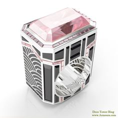 Deco Tower ring in platinum with pink diamonds, black spinel and enamel from www.Armoura.com