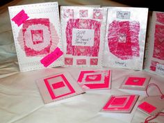 Sweet Pink Valentine Romantic Handmade by NIKscrapbooking on Etsy. Ready to ship !!! Set of cards and tags for Valentine's Day.