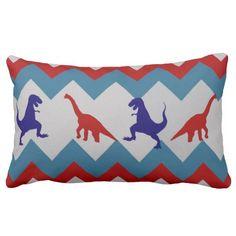 Fun Boys Dinosaurs Red Blue Chevron Pattern Pillows SOLD on Zazzle