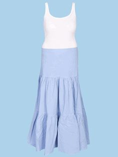 Scully Cantina Cowgirl Tiered Skirt - Powder Blue at Cowgirl Blondie's Dumb Blonde Boutique
