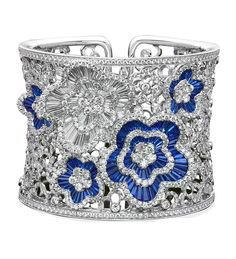 Diamond and sapphire bangle by Schreiner haute joaillerie