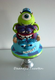 Monsters Inc Fondant Cake Monster University Cakes, Monster Inc Cakes, Sweet Cakes, Cute Cakes, Movie Cakes, Character Cakes, Disney Cakes, Specialty Cakes, Creative Cakes