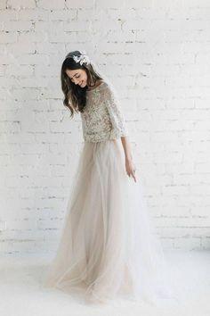 Wedding Dress , Two Piece Wedding Dress, Bridal Tulle Dress , Nude  Lace Wedding Dress , Bohemian  Open Back Dress, Bridal Separates - PEONY