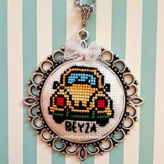 Small Cross Stitch, Cross Stitch Designs, Cross Stitch Patterns, Cross Stitch Embroidery, Embroidery Patterns, Floral Necklace, Embroidery Jewelry, Perler Beads, Line Art