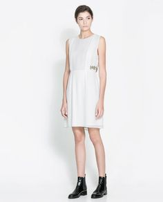 Image 1 of DRESS WITH EMBROIDERED DETAILING from Zara