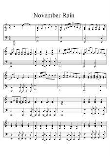 Brenda Bondezan: Partitura de piano November Rain- Guns N' Roses Mais Guns N Roses, The Piano, Violin Sheet Music, Piano Music, Music Sheets, Piano Lessons, Music Lessons, Guitar Chords For Songs, Ukulele