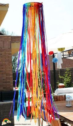 Carnival Birthday Parties, Circus Birthday, Circus Theme, Carnival Decorations, Carnival Themes, Ribbon Chandelier, Bohemian Party, Hippie Party, Graduation Open Houses