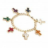 CHARM BRACELET w CROSSES Each cross marked a special event, engraved on the back DUCHESS OF WINDSOR