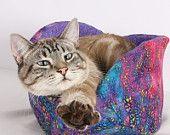 Cat Canoe a Warm Winter Kitty Bed in Colorful Rainbow Galaxy Fireworks Batik