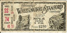 Beautiful typography from a college football ticket circa 1930