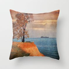 Autumn by the sea Throw Pillow by Paula Belle Flores - $20.00