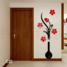 Find More Wall Stickers Information about New Fashion Plum vase 3D wall stickers Flower acrylic crystal dimensional Entrance wall stickers Home decoration Free shipping,High Quality stickers holiday,China stickers nikon Suppliers, Cheap stickers master from Pontian girl's store on Aliexpress.com