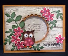 Stampin up Owl punch, Hardwood, Great friend and Petite petals Bird Cards, Butterfly Cards, Flower Cards, Homemade Greeting Cards, Greeting Cards Handmade, Homemade Cards, Owl Punch Cards, Owl Card, Birthday Cards For Women