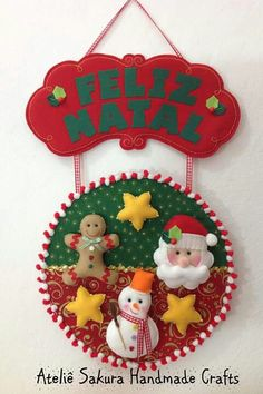 Natal enfeite de porta em feltro