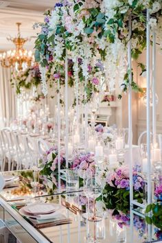 An Ombré Floral Wonderland - WedLuxe Magazine Luxury Wedding, Dream Wedding, Winter Wonderland Christmas Party, Hand Painted Cakes, Simple Elegant Wedding, Reception Decorations, Reception Ideas, Flower Backdrop, Luxury Decor
