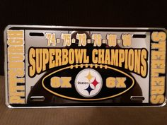Pittsburgh Steelers 6x Super Bowl Champions - Mirrored License Plate - Car Truck