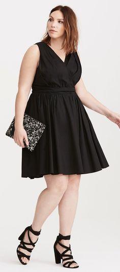 Plus Size Sateen Surplice Dress