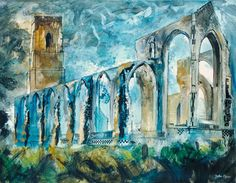 John Piper, Covehithe Church (Suffolk, England),1983, oil on canvas, 86.3 x 111.8 cm. From Tate Gallery label: Piper painted this ruined church...at his 80th birthday....an emotional as well as an architectural view. The racing clouds and fitful light suggest a personal sense of the ruin as an image of preservation as well as destruction.