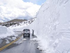 Trail Ridge Road, Rocky Mountain National Park, Colorado.  It is the highest continuous motorway in the United States, with more than eight miles lying above 11,000' and a maximum elevation of 12,183'.