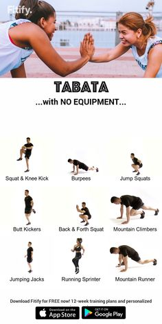 TABATA with your body weight - fitness training Hiit Tabata, At Home Workouts, Gym Workouts, Fitness Exercises At Home, Workout At Home, Weight Training Workouts, Body Weight Training, Training Videos, Training Plan
