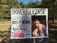 Disney Pixar Cars birthday activity- driver's license photo booth More