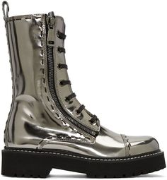 Dolce & Gabbana for Women Collection Dress With Boots, Lace Up Boots, Golden Shoes, Mid Calf Boots, Metallic Leather, Shoe Collection, Calves, Combat Boots, Shoe Boots