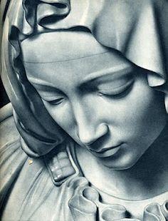 Michelangelo's Pieta, detail of Virgin Mary's face