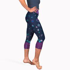 a38ac037c5367 Navy blue batik print yoga capris. High waisted short yoga pants