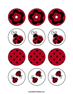 Ladybug cupcake toppers. Use the circles for cupcakes, party favor tags, and more. Free printable PDF download at http://cupcakeprintables.com/toppers/ladybug-cupcake-toppers/