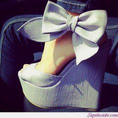 beautiful bow ankle wedges