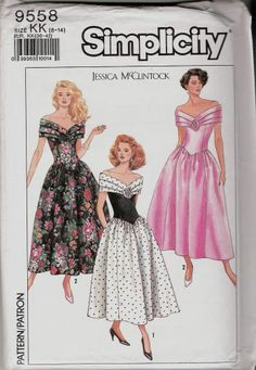 """One Piece Dress SEWING PATTERN SIMPLICITY 9558 SIZE 8 -14 BUST 31.5 - 36"""" UNCUT"""