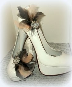Peach and Gray feather shoe clips! www.etsy.com/shop/shoeclipsonly