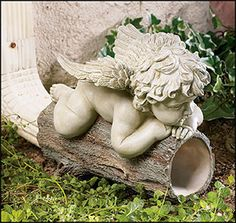 Angel downspout I want this for mine Angel Decor, Angel Art, Decorative Downspouts, Garden Art, Garden Design, Sculpture Art, Sculptures, Garden Angels, Garden Statues