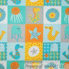 BonEful Fabric FQ Cotton Quilt Aqua Blue Star Jelly Fish Octopus Sea Horse Block