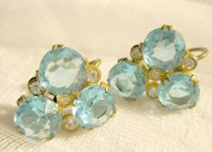 Something Blue.. Vintage 1950s Ice Blue Large Czech Crystal Trio Earrings $40