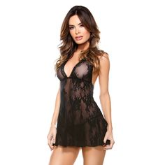 Fantasy Lingerie 'Flirty Flair' Halter Dress and Matching G-string