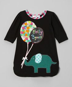 Take a look at this Black Elephant Balloon Chalkboard Dress - Toddler & Girls by Rock Chalk on #zulily today!