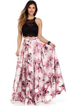 Orabella Black Floral Two Piece Dress